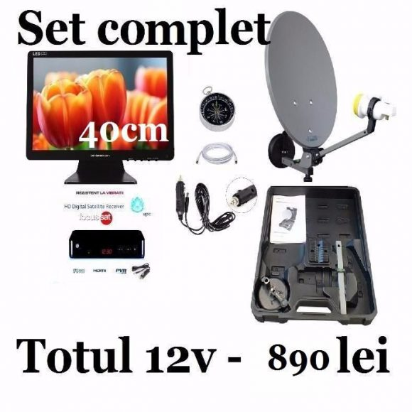 Set complet antena + televizor 40cm si receptor focussat camion 12v