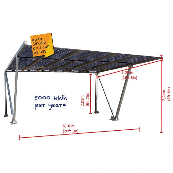Parcare fotovoltaica Carport 3XL, 4.86 kWp